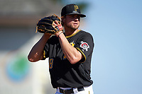 Pittsburgh Pirates relief pitcher Trey Haley (58) gets ready to deliver a pitch during a Spring Training game against the Boston Red Sox on March 9, 2016 at McKechnie Field in Bradenton, Florida.  Boston defeated Pittsburgh 6-2.  (Mike Janes/Four Seam Images)