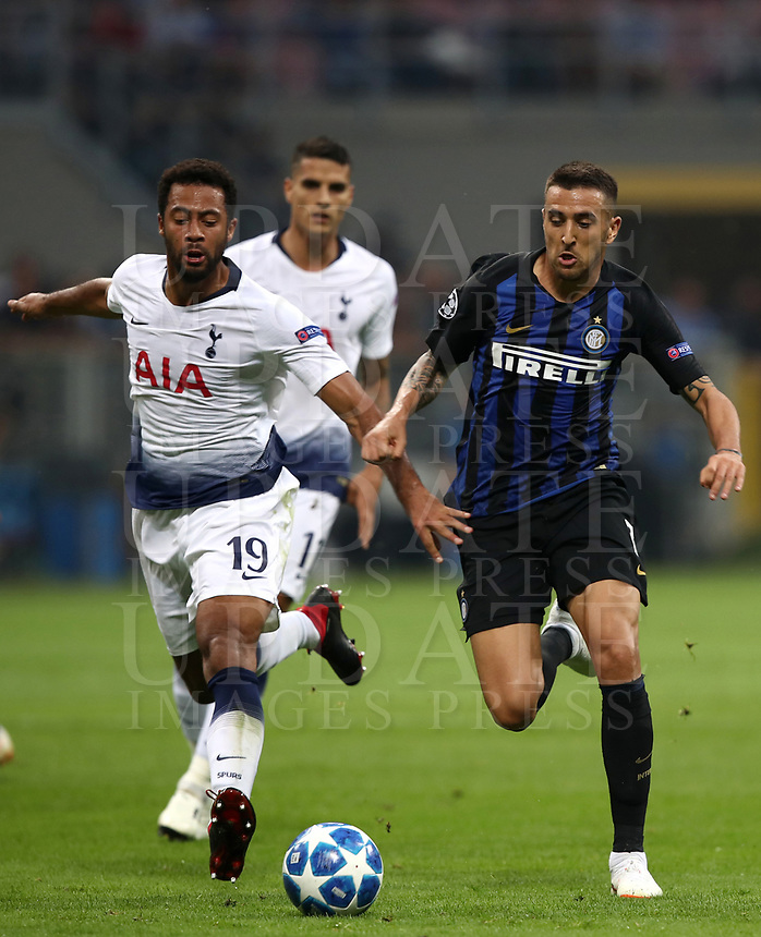 Football Soccer: UEFA Champions League FC Internazionale Milano vs Tottenham Hotspur FC, Giuseppe Meazza stadium, September 15, 2018.<br /> Inter's Matias Vecino (r) in action with Tottenham's Mousa Demb&eacute;l&eacute; (l) during the Uefa Champions League football match between Internazionale Milano and Tottenham Hotspur at Giuseppe Meazza (San Siro) stadium, September 18, 2018.<br /> UPDATE IMAGES PRESS/Isabella Bonotto