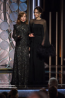 Isabelle Huppert and Angelina Jolie at the 75th Annual Golden Globe Awards at the Beverly Hilton in Beverly Hills, CA on Sunday, January 7, 2018.<br /> *Editorial Use Only*<br /> CAP/PLF/HFPA<br /> &copy;HFPA/PLF/Capital Pictures