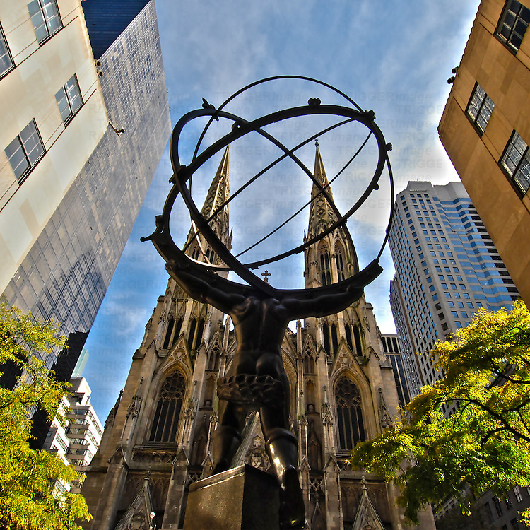 Image of the Atlas Statue with St. Patrick's Cathedral in the background, Manhattan, New York City.
