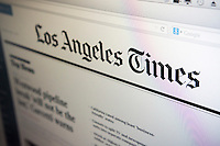 The newly designed website of the Los Angeles Times is seen on a computer screen on Tuesday, August 5, 2014.  The Tribune Company has spun off its print publications including the Los Angeles Times, the Chicago Tribune and eight other publications. The new company started trading today on the New York Stock Exchange and it has been rebranded Tribune Publishing. Tribune Publishing expects to invest heavily the digital platform, particularly mobile. © Richard B. Levine)