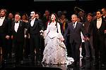 John Owen Jones, Hal Prince, Hugh Panaro, Sierra Boggess, Cameron Mackintosh & Ramin Karimloo during the 'Phantom of the Opera' - 25 Years on Broadway Gala Performance Curtain Call Celebration at the Majestic Theatre in New York City on 1/26/2013