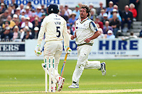 Ryan Sidebottom of Yorkshire claims the wicket of Mohammad Amir during Yorkshire CCC vs Essex CCC, Specsavers County Championship Division 1 Cricket at Scarborough CC, North Marine Road on 7th August 2017