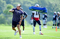 August 1, 2017: New England Patriots head coach Bill Belichick throws a blocking aid at a player at the New England Patriots training camp held at Gillette Stadium, in Foxborough, Massachusetts. Eric Canha/CSM