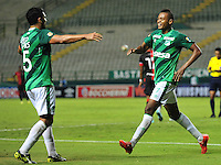 CALI -COLOMBIA-23-08-2015. Harold Preciado (Der.) jugador de Deportivo Cali celebra el segndo gol de su equipo anotadao a Cúcuta Deportivo durante partido entre Deportivo Cali y Cúcuta Deportivo por la fecha 8 de la Liga Aguila II 2015 jugado en el estadio Deportivo Cali (Palmaseca) de la ciudad de Palmira. / Harold Preciado (R) player of Deportivo Cali clebrates the second goal of his team scored to Cucuta Deportivo during a match between Deportivo Cali and Cucuta Deportivo for the 8th date of the Liga Aguila II 2015 played at the Deportivo Cali (Palmaseca) stadium in Palmira city. Photo: VizzorImage/ Nelson Rios / Cont