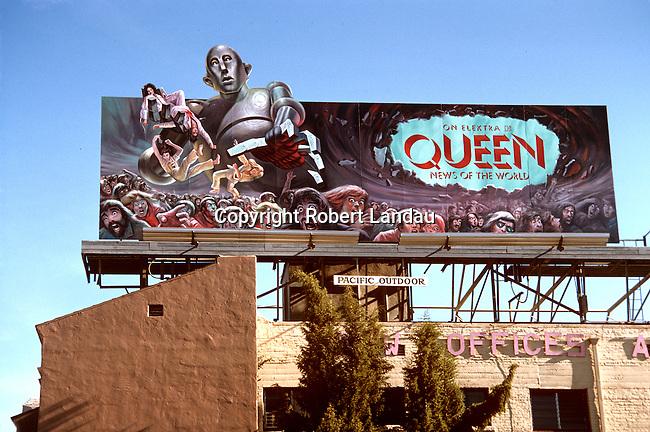 Rock group Queen billbooard on the Sunset Strip in Los Angeles