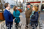 Tim Collins (Fenit) talking to the Green Party candidate Cleo Murphy, MEP Grace O'Sullivan and Kerrys Eye Michael Ahern in the Mall in Tralee on Monday.