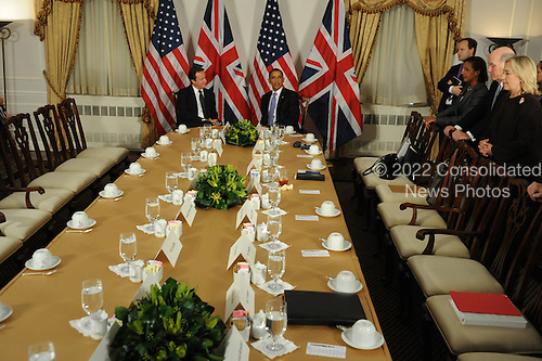 United States President Barack Obama meets Prime Minister David Cameron of Great Britain, Wednesday, September 21, 2011 at the Waldorf Astoria Hotel in New York, New York..Credit: Aaron Showalter / Pool via CNP