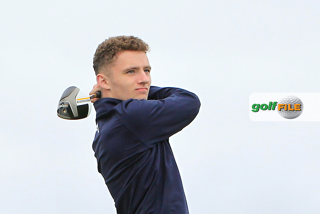 Eoin Griffin (Galway) on the 18th tee during R1 of the 2016 Connacht U18 Boys Open, played at Galway Golf Club, Galway, Galway, Ireland. 05/07/2016. <br /> Picture: Thos Caffrey | Golffile<br /> <br /> All photos usage must carry mandatory copyright credit   (&copy; Golffile | Thos Caffrey)