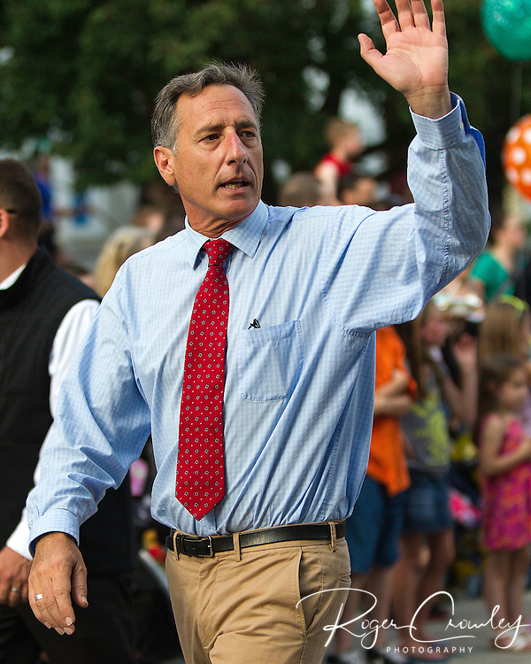 Vermont Governor Peter Shumlin acknowledges the crowd in the July 3rd Parade in Montpelier Vermont 2013.