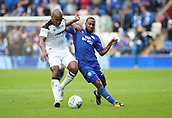 30th September 2017, Cardiff City Stadium, Cardiff, Wales; EFL Championship football, Cardiff City versus Derby County; Andre Wisdom of Derby County holds off Junior Hoilett of Cardiff City