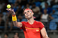 10th January 2020; Sydney Olympic Park Tennis Centre, Sydney, New South Wales, Australia; ATP Cup Australia, Sydney, Day 8; Belgium versus Spain;David Goffin of Belgium versus Rafael Nadal of Spain; Rafael Nadal of Spain tosses the ball before serving to David Goffin of Belgium - Editorial Use