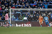 26th January 2020; Coliseum Alfonso Perez, Madrid, Spain; La Liga Football, Club Getafe Club de Futbol versus Real Betis; Angel Rodriguez (Getafe CF)  scores from the penalty spot for 1-0 in the 89th minute
