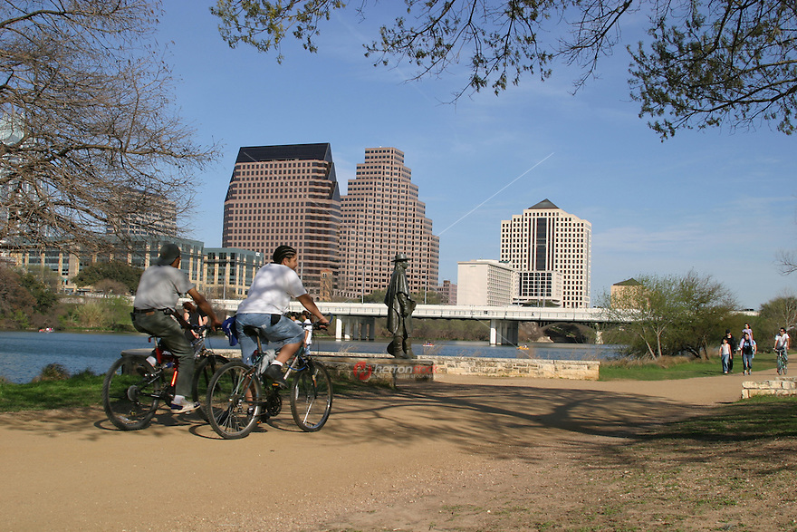 Beautiful spring day for a bike ride at the stevie ray vaughn memorial statue on town lake austin