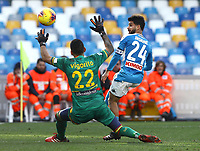 9th February 2020; Stadio San Paolo, Naples, Campania, Italy; Serie A Football, Napoli versus Lecce; Lorenzo Insigne of Napoli with a good goal scoring opportunity but saved by goalkeeper Vigorito of Lecce