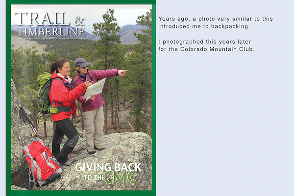 On assignment. Hikers learning navigation skills with the Colorado Mountain Club.<br />