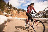 Tara Kramer of Bozeman, Montana rides above the Golden Gate Bridge in Yellowstone National Park.