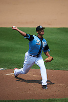 Syracuse Chiefs pitcher Joe Ross (30) delivers a pitch during a game against the Pawtucket Red Sox on July 6, 2015 at NBT Bank Stadium in Syracuse, New York.  Syracuse defeated Pawtucket 3-2.  (Mike Janes/Four Seam Images)