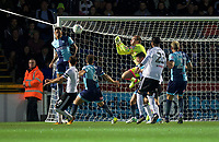 Goalkeeper Scott Brown of Wycombe Wanderers punches the ball clear during the Carabao Cup match between Wycombe Wanderers and Fulham at Adams Park, High Wycombe, England on 8 August 2017. Photo by Alan  Stanford / PRiME Media Images.