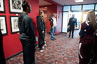 December  05, 2011 - Bristol, CT - ESPN Campus:  Texas native and SportsCenter anchor, Robert Flores, chats with the Texas A&M Women's Basketball team during their tour of ESPN...Credit: /ESPN
