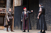 London, UK. 25 April 2015. L-R: Daniel Lapaine as Bassanio, Jonathan Pryce as Shylock and Dominic Mafham as Antonio. William Shakespeare's The Merchant of Venice is performed at Shakespeare's Globe, Globe Theatre, from 23 April - 7 June 2015. With Daniel Lapaine as Bassanio, Rachel Pickup as Portia and Jonathan Pryce as Shylock. Photo: Bettina Strenske