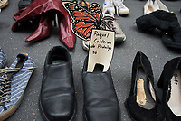 These shoes symbolize a friend, family member, or neighbor lost to a private prison, immigration detention center, and the system of mass incarceration.<br /> JPMorgan Chase is  collaborating with Trump or directly benefiting from his  xenophobic agenda. Trump&rsquo;s companies owe Wells Fargo $14.4 million, and the bank JP Morgan Chase services another $1.2 billion in Trump&rsquo;s companies&rsquo; loans. (Photo by Joana Toro/VIEWPress/Corbis via Getty Images)
