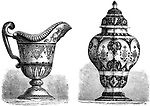 Various Earthenwares, found in Rouen, France, vintage engraved illustration. Le Magasin Pittoresque - Larive and Fleury - 1874