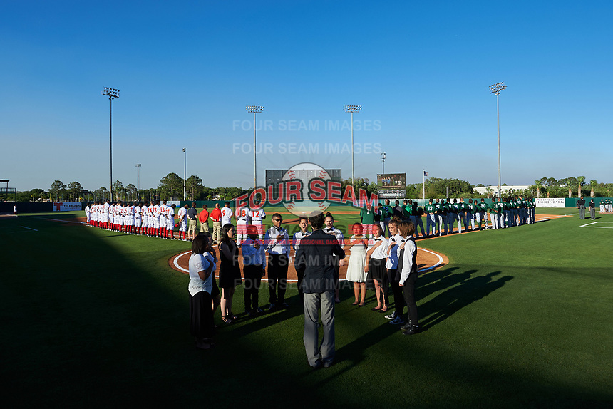 General view of the national anthem ceremony before the Florida Fire Frogs inaugural game against the Daytona Tortugas on April 6, 2017 at Osceola County Stadium in Kissimmee, Florida.  Daytona defeated Florida 3-1.  (Mike Janes/Four Seam Images)