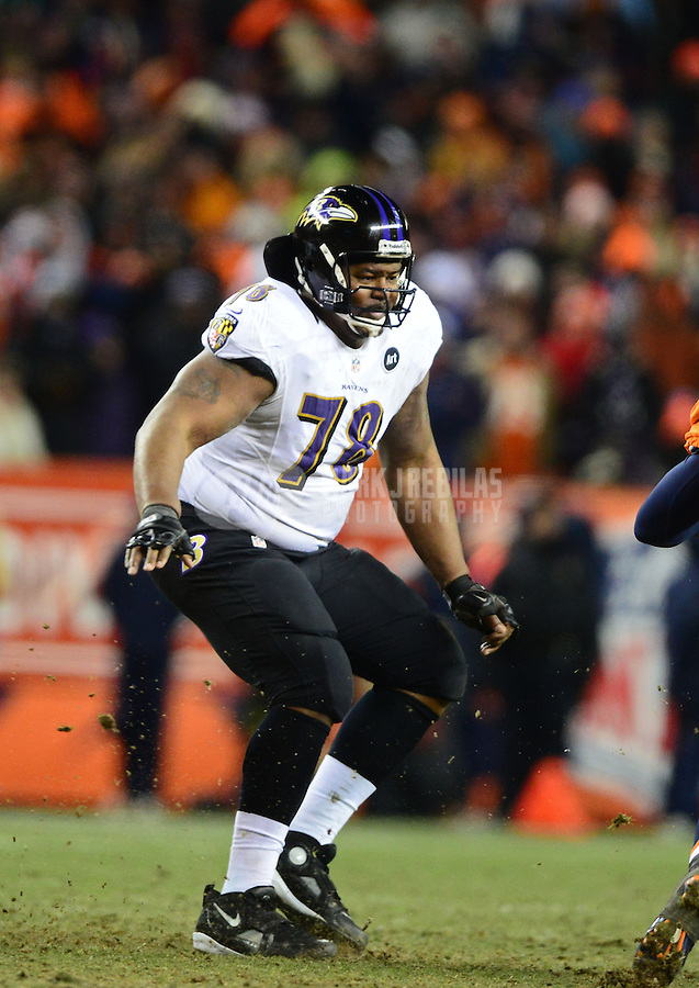 Jan 12, 2013; Denver, CO, USA; Baltimore Ravens tackle Bryant McKinnie (78) against the Denver Broncos during the AFC divisional round playoff game at Sports Authority Field.  Mandatory Credit: Mark J. Rebilas-