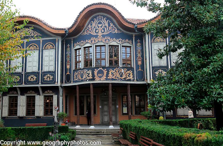 Ethnographic Museum in historic old town area of Plovdiv, Bulgaria occupies the 1847 house merchant Argir Kuyumdzhioglu