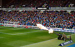 An L118 light field gun fires to signal the start of the minutes silence for Remembrance at Ibrox Stadium