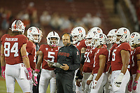 Stanford, CA - October 05, 2019: David Shaw, head coach, during the Stanford vs Washington football game Saturday night at Stanford Stadium.<br /> <br /> Stanford won 23-13.