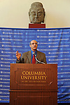 Professor Martin Chalfie, winner of the 2008 Nobel Prize in Chemistry for the discovery and development of the green florescent protein, GFP, speaks at a press conference announcing the award at Columbia University in New York, New York on October 8, 2008.
