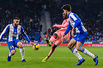 Ousmane Dembele of FC Barcelona (C) looks to bring the ball down during the La Liga 2018-19 match between RDC Espanyol and FC Barcelona at Camp Nou on 08 December 2018 in Barcelona, Spain. Photo by Vicens Gimenez / Power Sport Images