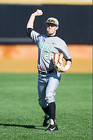 Marshall Thundering Herd left fielder Cory Garrastazu (28) warms up between innings of the game against the Georgetown Hoyas at Wake Forest Baseball Park on February 15, 2014 in Winston-Salem, North Carolina.  The Thundering Herd defeated the Hoyas 5-1.  (Brian Westerholt/Four Seam Images)