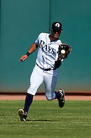 Phoenix Desert Dogs outfielder Kevin Kiermaier #25, of the Tampa Bay Rays organization, during an Arizona Fall League game against the Surprise Saguaros at Phoenix Municipal Stadium on October 18, 2012 in Phoenix, Arizona.  The game was called after eleven innings with a 2-2 tie.  (Mike Janes/Four Seam Images)