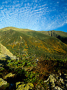 Tuckerman Ravine (left) and Huntington Ravine (right) from Boott Spur Trail in Sargent's Purchase of the White Mountains, New Hampshire. The summit of Mount Washington at the top left.