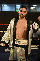 Rohan Date (silver shorts) defeats Radislav Mitev at the Woodside Leisure Centre on 9th March 2019
