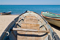 Old fishing boat sitting on beach, La Paz, Baja