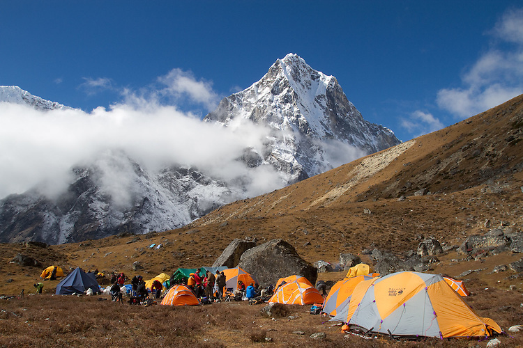 Lobuche basecamp with Cholatse in the background.  Photo by Didrik Johnck.