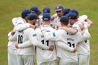 Essex players huddle during Warwickshire CCC vs Essex CCC, Specsavers County Championship Division 1 Cricket at Edgbaston Stadium on 11th September 2019