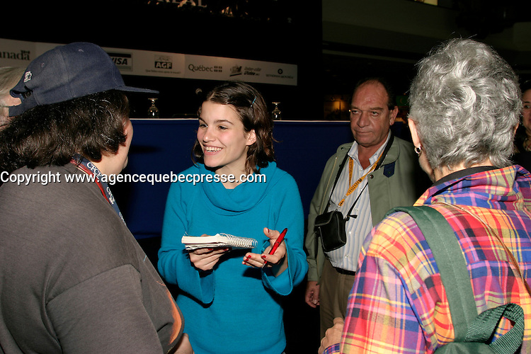 August 30 2003  Montreal, Quebec, Canada<br /> <br /> Marina  Glezer,actress in THE LITTLE POLISH ( EL POLAQUITO) (R) an Argentina-Spain co-production directed by film maker Jean carlos Desanzo <br /> sign autographs for fans at the Monbtreal World Film Festival<br /> <br /> <br /> <br /> The Festival runs from August 27th to september 7th, 2003<br /> <br /> <br /> Mandatory Credit: Photo by Pierre Roussel- Images Distribution. (&copy;) Copyright 2003 by Pierre Roussel <br /> <br /> All Photos are on www.photoreflect.com, filed by date and events. For private and media sales