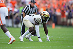 Wendell Dunn (14) of the Wake Forest Demon Deacons on defense during first half action against the Clemson Tigers at Memorial Stadium on October 7, 2017 in Clemson, South Carolina.  The Tigers defeated the Demon Deacons 28-14. (Brian Westerholt/Sports On Film)