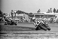 Eddie Lawson, #4 Yamaha, leads Wayne Rainey, #6 Honda, Daytona 200, AMA Superbikes, Daytona International Speedway, Daytona Beach, FL, March 9, 1986.(Photo by Brian Cleary/bcpix.com)