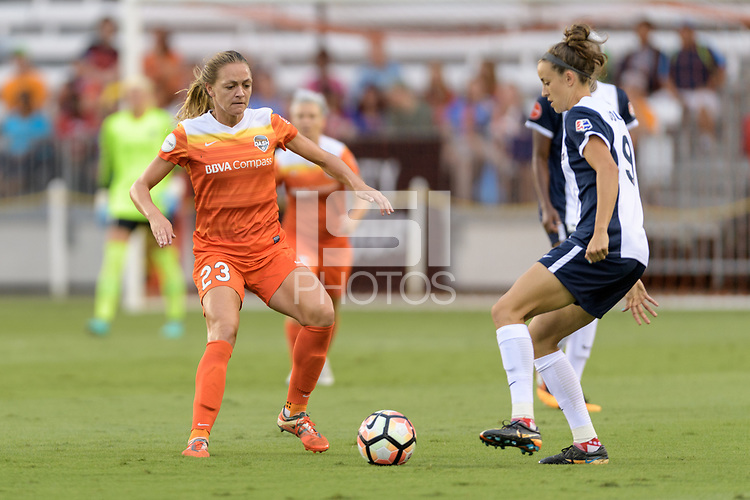 Houston, TX - Saturday July 15, 2017: Cami Privett and Havana Solaun during a regular season National Women's Soccer League (NWSL) match between the Houston Dash and the Washington Spirit at BBVA Compass Stadium.