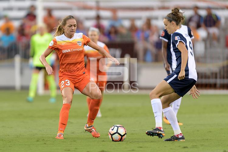 Houston, TX - Saturday July 15, 2017: Cami Privett and Havana Solaun during a regular season National Women's Soccer League (NWSL) match between the Houston Dash and the Washington Spirit at BBVA Compass Stadium.