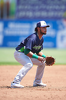 Vermont Lake Monsters third baseman Jesus Lopez (9) during a game against the Auburn Doubledays on July 13, 2016 at Falcon Park in Auburn, New York.  Auburn defeated Vermont 8-4.  (Mike Janes/Four Seam Images)