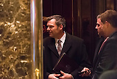 Kris Kobach, Secretary of State for Kansas, is seen in an elevator in lobby of Trump Tower in New York, NY, USA December 15, 2016. <br /> Credit: Albin Lohr-Jones / Pool via CNP