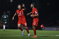 Jobi McAnuff of Leyton Orient scores the second goal for his team and celebrates during Leyton Orient vs Plymouth Argyle, Caraboa Cup Football at The Breyer Group Stadium on 15th September 2020