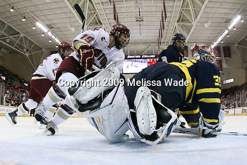 Cam Atkinson (BC - 13), Joe Whitney (BC - 15), ?, Joe Cannata (Merrimack - 35) - The Boston College Eagles defeated the Merrimack College Warriors 4-3 on Friday, October 30, 2009, at Conte Forum in Chestnut Hill, Massachusetts.